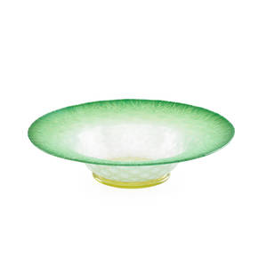 Tiffany favrile glass bowl quilted green opalescent body with yellow base early 20th c etched lc tiffany favrile 51561 3 x 12 dia