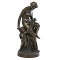 Classical bronze statue figure of nude woman and a cherub holding a rose garland rope 20th c signed marcelin 21 x 8 12