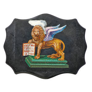 Italian micromosaic plaque polychrome depiction of the winged lion of saint mark holding a text with latin inscription 19th c 6 x 7 x 1