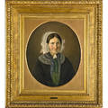 Peter raadsig danish 18061882 attr oil on canvas portrait of woman wearing mourning attire framed 22 12 x 19