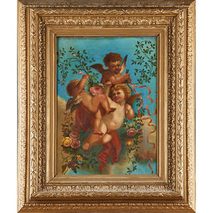 19th c pair of italian school paintings two oil on on paper laid to linen of cherubs with instruments and floral garland framed 25 x 18