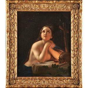 19th c continental school portrait oil on canvas the penitent magdalene framed 20 12 x 16 12