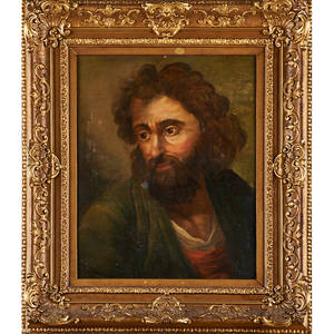 18th c continental school portrait oil on canvas laid to panel portrait of bearded man framed 21 12 x 17