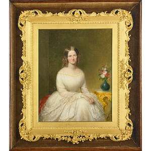 19th c english portrait oil on metal portrait of ms m goodyear framed 17 12 x 15 12 overall