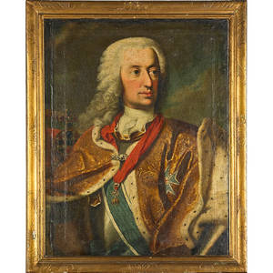 18th19th c portrait of nobleman oil on canvas portrait of a knight of the golden fleece framed 30 x 25