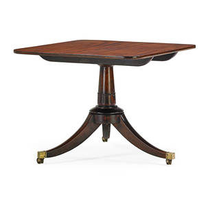 George iii breakfast table mahogany with pedestal base on casters early 19th c 27 12 x 35 12 x 35 12
