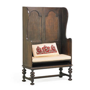 English gothic style bench walnut with panel back upholstered seat early 20th c 59 x 36 x 18