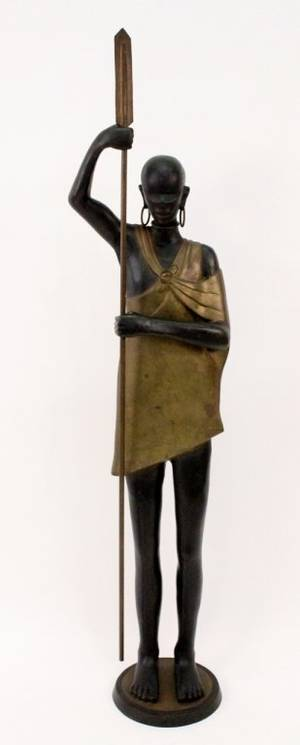 20th C Bronze Figural Sculpture of a Nubian Woman