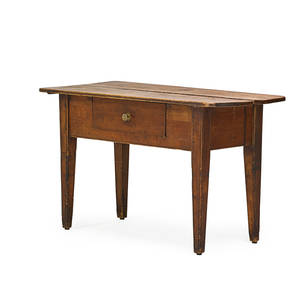 Irish hunt board pine with mortoised top and single drawer on tapered leg 19th c 31 12 x 50 x 25