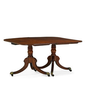 George iii style double pedestal dining table mahogany with reeded edge two leaves and tripod base on casters 29 x 94 x 55