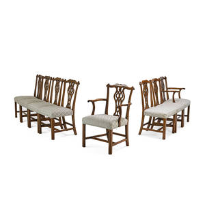 Set of george iii style dining chairs eight walnut with pierced splat on pad feet comprising two armchairs and six side chairs 38 x 22 x 19