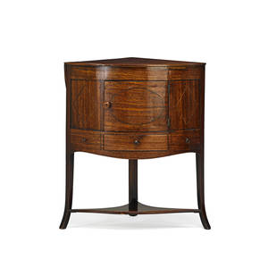 George iii corner washstand mahogany with stretcher base and splayed legs ca 1800 37 x 27 12 x 19 14