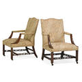 Pair of george iii style library armchairs mahogany carved frames with padded seat and back 19th c 39 x 23 x 23