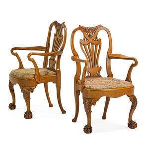Pair of colonial george ii style armchairs hardwood frame with pierced back rest needlework seat raised on ball and claw feet 34 x 20 x 18