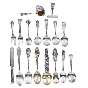 Silver childrens utensils sixteen including sterling figural bird medicine spoon weinberg humpty dumpty spoon etc late 19thearly 20th c all marked longest 6 167 otweighable