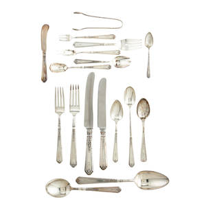Gorham princess patricia sterling flatware 1926 eleven piece service for twelve with 13 serving pieces and extras 12 dinner forks 7 34 12 luncheon forks 7 14 12 cakesalad forks