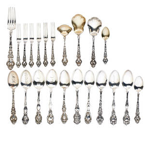 Unger bros sterling silver twentytwo art nouveau utensils comprising teaspoons hors doeuvres forks etc early 20th c all marked longest 6 17 ot