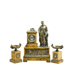 French marble garniture set three clock with giltbronze classical figure and frieze in relief with pair of diminutive salvers on pedestals eight day time and strike movement 19th c clock 23
