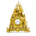 Louis philippe giltbronze mantel clock renaissance courtly figures above armorial design base eight day time and strike movement late19thearly 20th c 20 x 14