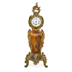 French giltbronze mantel clock handpainted vernis martin decoration in bombe form time only movement late 19th c dial marked illegibly 14 12 x 5 12 x 4 12
