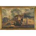 19th c dutch village scene oil on canvas framed signed 40 x 65