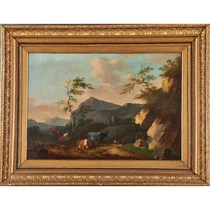 19th c flemish school landscape oil on canvas mountainside scene with figures and cows framed 20 x 28