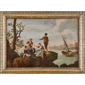 19th c continental school painting oil on canvas figures on bluff overlooking docked boat 1837 framed signed f portales and dated 21 12 x 31 12 provenance private collection new jerse