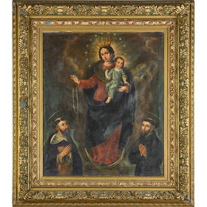 18th c italian school painting oil on canvas madonna and child scene framed 29 x 24