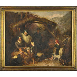 Old master style painting oil on masonite of figures in a mountain hut  19th c framed 28 34 x 34 34