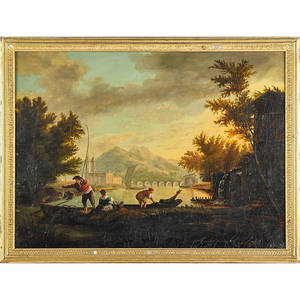 18th c flemish school landscape oil on canvas boating scene with figures framed 21 x 19