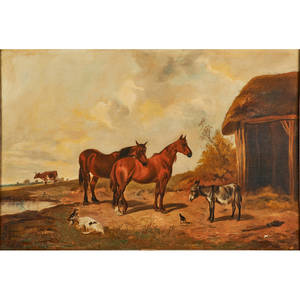 John frederick herring jr british 18151907 oil on canvas of farmyard scene framed signed 24 x 36