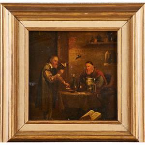 Follower of van staveren dutch 16261668 oil on panel interior scene with two alchemists framed 9 x 8 provenance lot 8 sale 250 pb84 a division of sotheby parke bernet inc new york 197