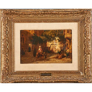 Karl girardet swiss 18131971 oil on canvas village street scene framed signed 6 12 x 9 12