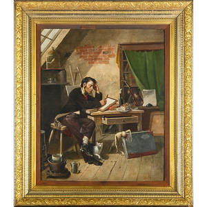 19th c french narrative scene oil on canvas of a composer at work framed 27 x 22