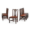 Set of george ii side chairs six mahogany with pierced vasiform splats and leather upholstery on tapered leg 18th c 38 x 18 x 22