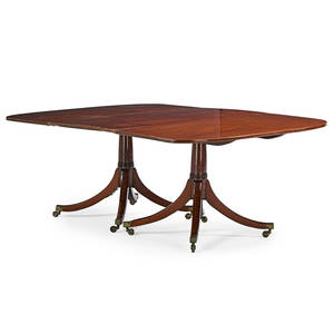 George iii style dining table mahogany with double pedestal base on casters 20th c 28 x 77 x 50 12