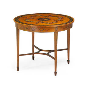 Edwardian center table painted satinwood with classical decorations and tapered leg on spade feet ca 1900 30 x 29 34 x 35 12