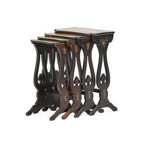 English quartetto tables four ebonized hardwood with gilded decoration 19th c 27 x 19 x 13