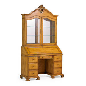 George iii style secretary desk carved fruitwood with acanthus leaf pediment with mirrored top over slant front desk early 20th c 91 x 49 x 19 12