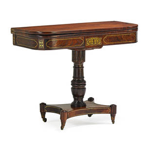 George iii card table rosewood with boulle inlay on casters ca 1810 29 x 36 x 17 12