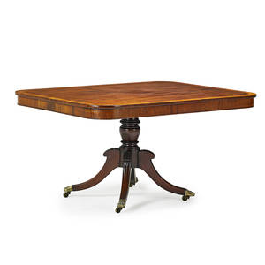 Regency breakfast table mahogany with banded satinwood inlay and pedestal base on casters early 19th c 29 x 56 14 x 40 12
