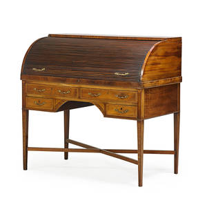 George iii cylinder desk mahogany with fitted interior on stretcher base 18th19th c 46 x 48 x 25 14