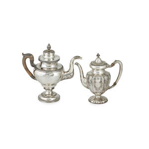 American silver teapots two james watson philadelphia coin silver with acanthus leaf decorated spout shoulder and figural tulip finial together with a reed and barton lobed with beaded foot 19th2