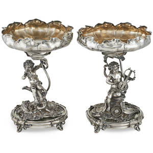 Pair of 800 german silver compotes figural stands of cherubs amongst foliage with mirrored stands marked e marcus 13 x 9 8943 ot