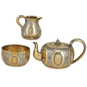 English sterling partial tea set three george fox parcel gilt with pearling decorated teapot creamer and waste bowl london 1872 teapot 4 x 7 12 x 5 166 ot