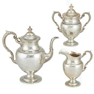 Fisher sterling coffee service three federal style with turned finials and scrolled arms mid 20th c marked tallest 10 12 541 ot