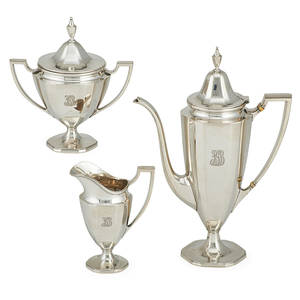 Tiffany and co sterling demitasse tea set three teapot creamer and sugar in queen anne style pattern 18879 john c moore ii director 1907  1947 marked teapot 10 12 37 ot