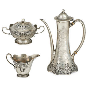 Tiffany and co sterling demitasse tea set three teapot creamer and sugar in pattern  12046 scroll and foliate design charles cook  director 1902  1907 marked teapot 8 226 ot