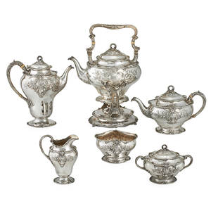 Gorham sterling tea service six rococo style hot water kettle on stand coffee pot teapot creamer sugar and waste bowls gorham hallmarks ca 1900 kettle on stand including handle 14 12 x
