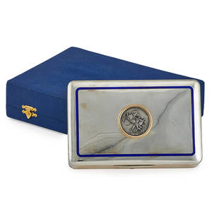 Giuseppe petochi sterling silver box enamel border inset with medalion for istituto per la ricostruzione industriale set with 18k bezel in original fitted box late 20th c 1 12 x 6 12 x 4 12